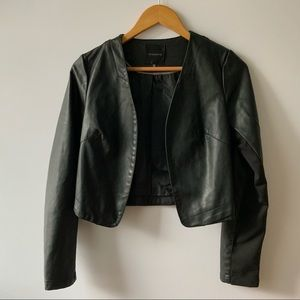 DYNAMITE Black Open Front Faux Leather Jacket